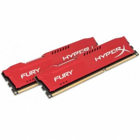 Kingston MEMORIA RAM 8GB DDR3- 1600MHZ NO ECC CL 10 DIMM (KIT DE 2)FURY ROJO SERIES
