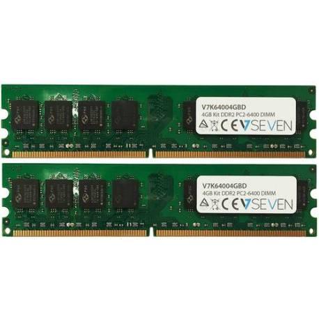 V7 MEMORIA RAM 2X2GB KIT DDR2 800MHZ CL6 DIMM PC2-6400 1.8V