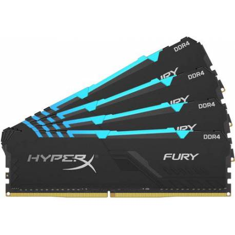 Kingston MEMORIA RAM 32GB DDR4 2666MHZ CL16 DIMM KIT DE 4 1RX8 HYPERX FURY RGB