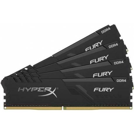 Kingston MEMORIA RAM 32GB DDR4 2666MHZ CL16 DIMM KIT DE 4 1RX8 HYPERX FURY NEGRO