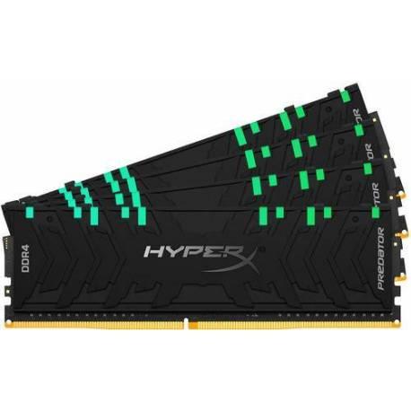 Kingston MEMORIA RAM 128GB DDR4-3200MHZ CL16 DIMM KIT DE 4 XMP HYPERX PREDATOR RGB
