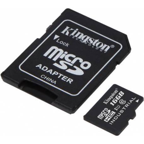 Kingston 16GB MICROSDHC UHS-I CLASE 10 INDUSTRIAL TEMP CARD+ ADAPTADOR