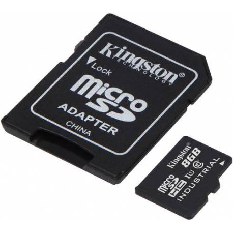 Kingston 8GB MICROSDHC UHS-I CLASE 10 INDUSTRIAL TEMP CARD+ ADAPTADOR