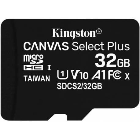 Kingston TARJETA DE MEMORIA 32GB MICROSDHC CANVAS SELECT 2P 2PC 100R A1 CLASE 10 CON ADAPTADOR