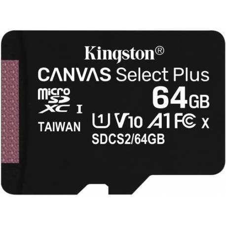 Kingston TARJETA DE MEMORIA 64GB MICROSDXC CANVAS SELECT 100R A1 C10 SP SIN ADAPTADOR