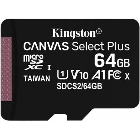 Kingston TARJETA DE MEMORIA 64GB MICROSDXC CANVAS SELECT 100R A1 CLASE 10 CON ADAPTADOR SD