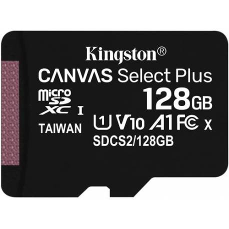 Kingston TARJETA DE MEMORIA 128GB MICROSDXC CANVAS SELECT 100R A1 CLASE 10 CON ADAPTADOR SD
