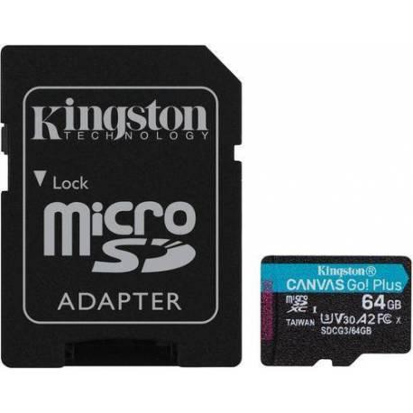 Kingston TARJETA DE MEMORIA 64GB MSDXC CANVAS GO PLUS 170R A2 U3 V30 CON ADAPTADOR