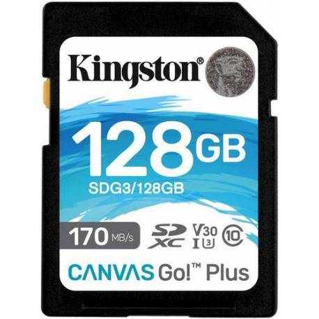 Kingston TARJETA DE MEMORIA 128GB SDXC CANVAS GO PLUS 170R C10 UHS-I U3 V30