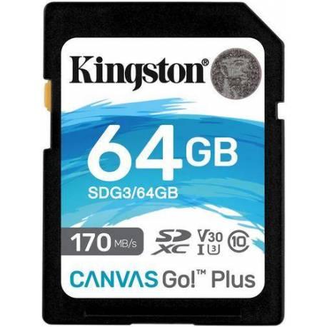 Kingston TARJETA DE MEMORIA 64GB SDXC CANVAS GO PLUS 170R C10 UHS-I U3 V30