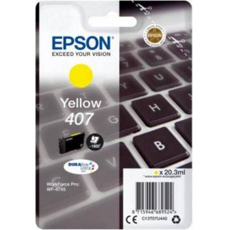 Epson CARTUCHO TINTA AMARILLO 407 WF-4745 SERIES 38.1 ML.