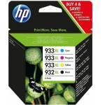 HP CARTUCHO TINTA 4 UNIDADES 932 NEGRO 933 CIAN MAGENTA AMARILLO ORIGINAL